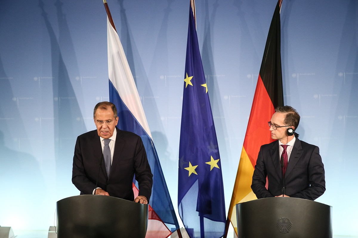 Ministar spoljnih poslova Rusije Sergej Lavrov i ministar spoljnih poslova Nemačke Hajko Mas tokom zajedničke konferencije za medije nakon njihovog sastanka, Berlin, 14. septembar 2018. (Foto: mid.ru)