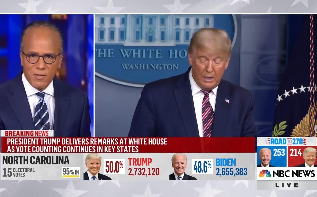 Trenutak kada voditelj En-Bi-Si-ja Lester Holt prekida emitovanje obraćanja predsednika Sjedinjenih Država Donalda Trampa povodom navodne izborne krađe (Foto: Snimak ekrana/Jutjub)