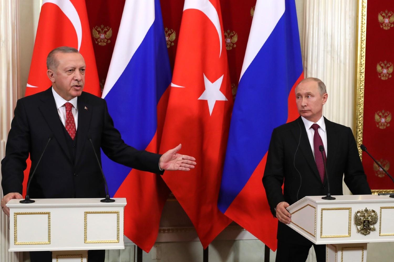 Turski predsednik Redžep Tajip Erdogan i ruski predsednik Vladimir Putin tokom zajedničke konferencije za medije nakon njihovog sastanka u Kremlju, Moskva, 23. januar 2019. (Foto: kremlin.ru)