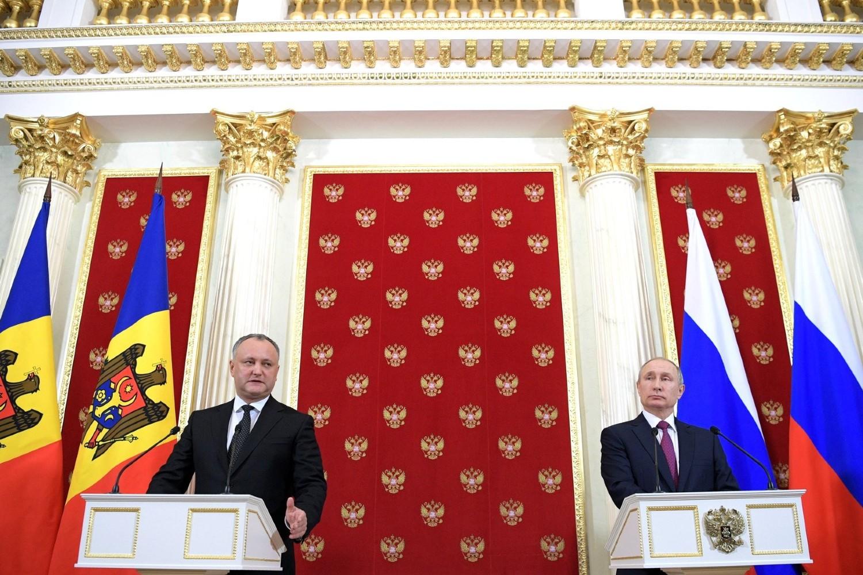 Predsednik Moldavije Igor Dodon i predsednik Rusije Vladimir Putin tokom zajedničke konferencije za medije u Kremlju, Moskva, 17. januar 2017. (Foto: kremlin.ru)