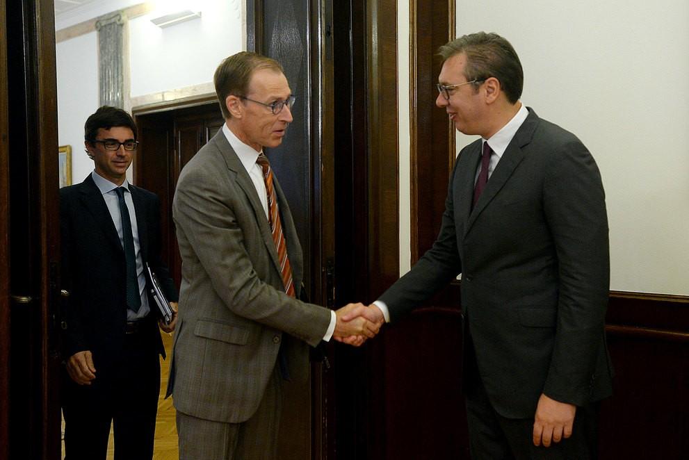 Šef misije MMF-a Jan Kejs Martejn tokom sastanka sa predsednikom Srbije Aleksandrom Vučićem, Beograd, 15. oktobar 2019. (Foto: Predsedništvo Srbije/Tanjug)