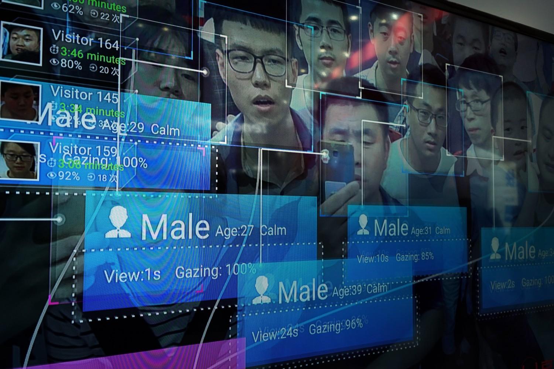 Ekran na kome je prikazan sistem prepoznavanja lica tokom prvog Kineskog digitalnog samita u izložbenom prostoru u Fudžoou, Kina, 22. april 2018. (Foto: VCG via Getty Images)