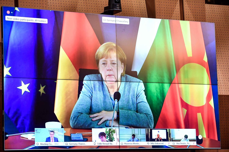 Nemačka kancelarka Angela Merkel tokom obraćanja putem video-linka na Samitu Berlinskog procesa u Sofiji, 10. novembar 2020. (Foto: Flickr/Vlada na Republika Severna Makedonija)