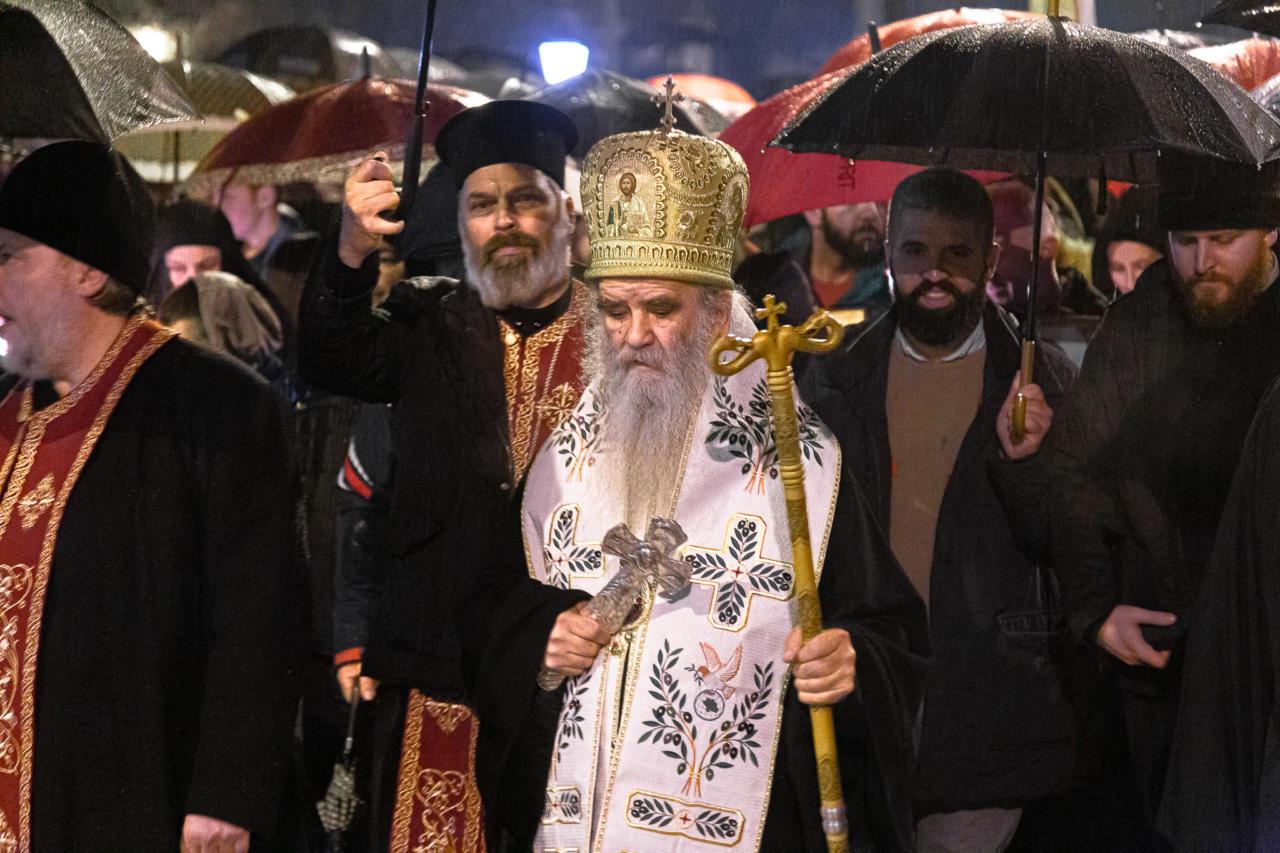 Mitropolit Amfilohije tokom litije u Podgorici, 26. januar 2020. (Foto: Boris Musić/mitropolija.com)