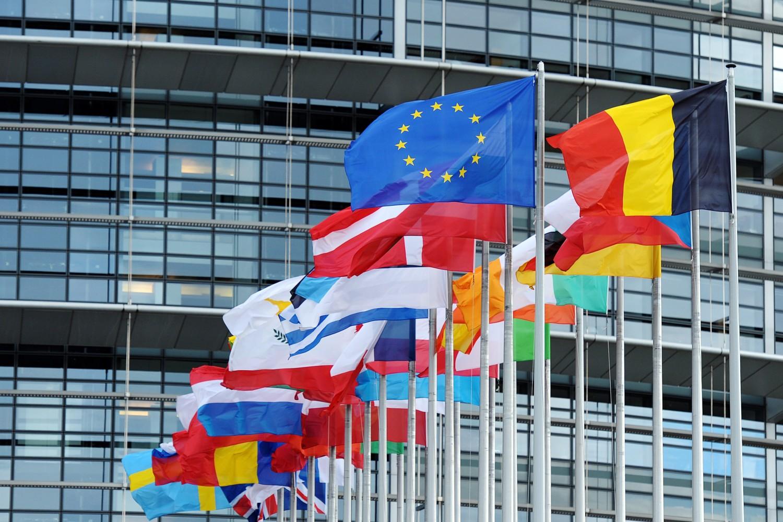 Zastave EU i država članica EU ispred zgrade Evropskog parlamenta u Strazburu (Foto: Frederick Florin/AFP/Getty Images)