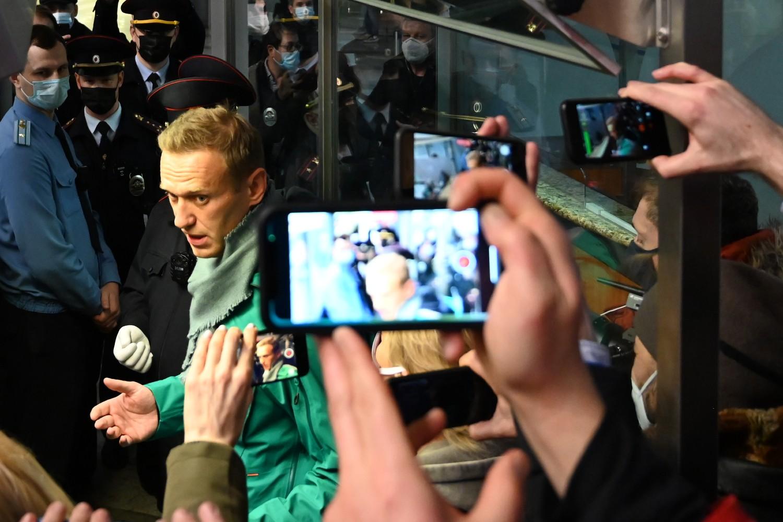 Ruski opozicionar Aleksej Navaljni tokom pasoške kontrole na aerodromu Šeremetjevo, Moskva, 17. januar 2021. (Foto: Kirill Kudryavtsev/AFP via Getty Images)
