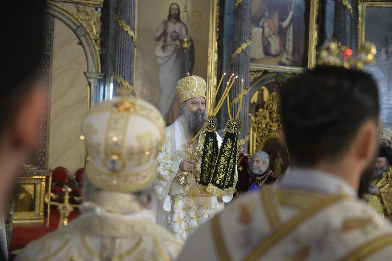 Mitropolit Porfirije tokom svog ustoličenja za patrijarha SPC u Sabornoj crkvi, Beograd, 19. februar 2021. (Foto: Tanjug/Rade Prelić)