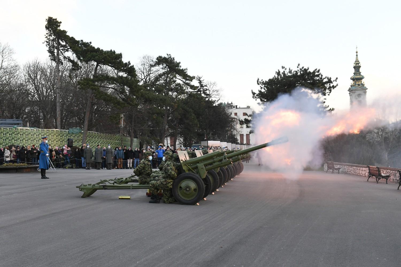 Počasna artiljerijska paljba povodom Dana državnosti na Kalemegdanu, Beograd, 14. februar 2021. (Foto: Ministarstvo odbrane Republike Srbije)