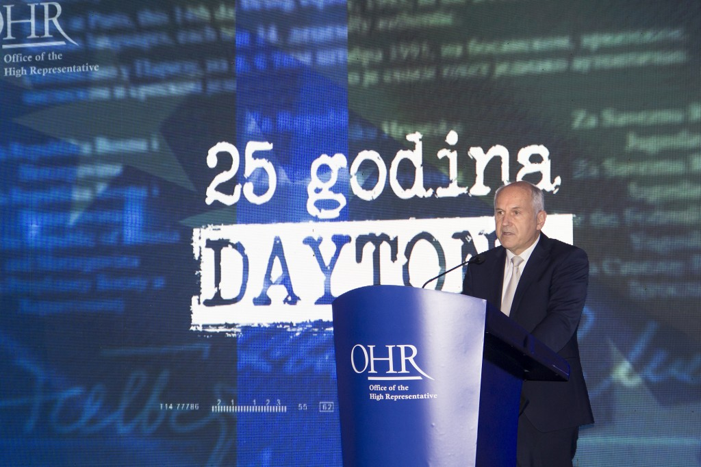 Visoki predstavnik za BiH Valentin Incko tokom govora na obeležavanju 25. godišnjice Dejtonskog sporazuma, Sarajevo, 12. decembar 2020. (Foto: ohr.int)
