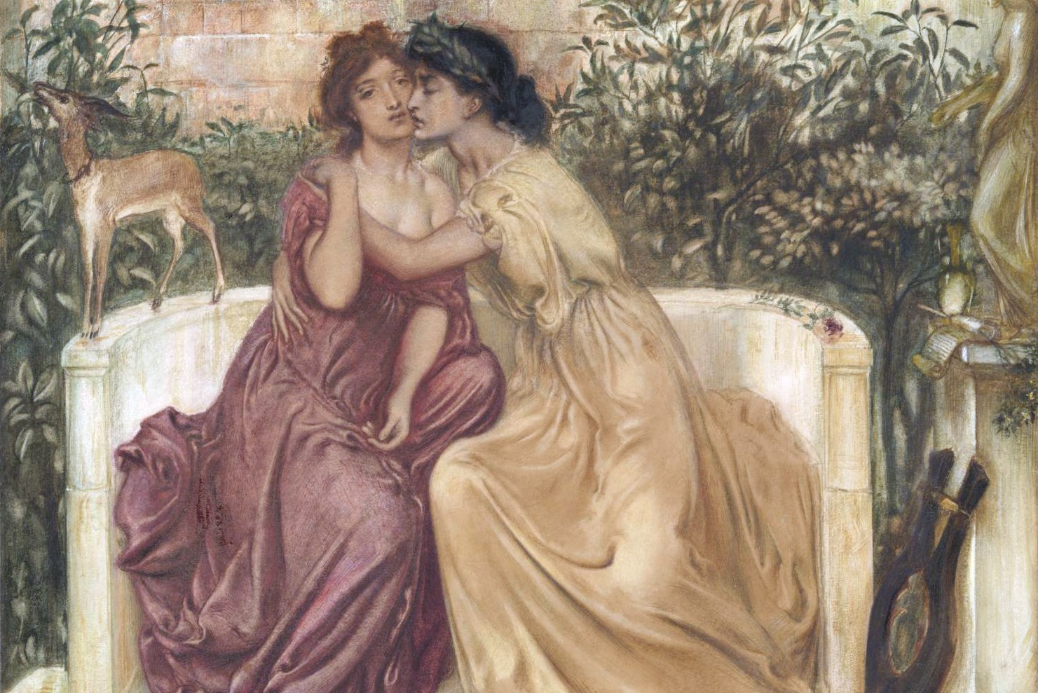 "Simeon Solomon, ""Safo i Erina u vrtu na Mitileni"", 1864. (Foto: Wikimedia/Tate Britain)"