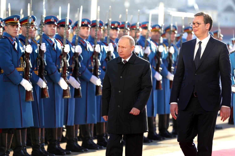Postrojena Garda Vojske Srbije tokom posete ruskog predsednika Vladimira Putina Srbiji, Beograd, 17. januar 2019. (Foto: kremlin.ru)