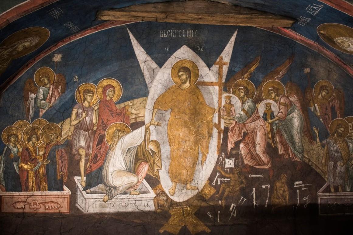 Vaskrsenje Hristovo, freska unutar manastira Visoki Dečani (Foto: decani.org)
